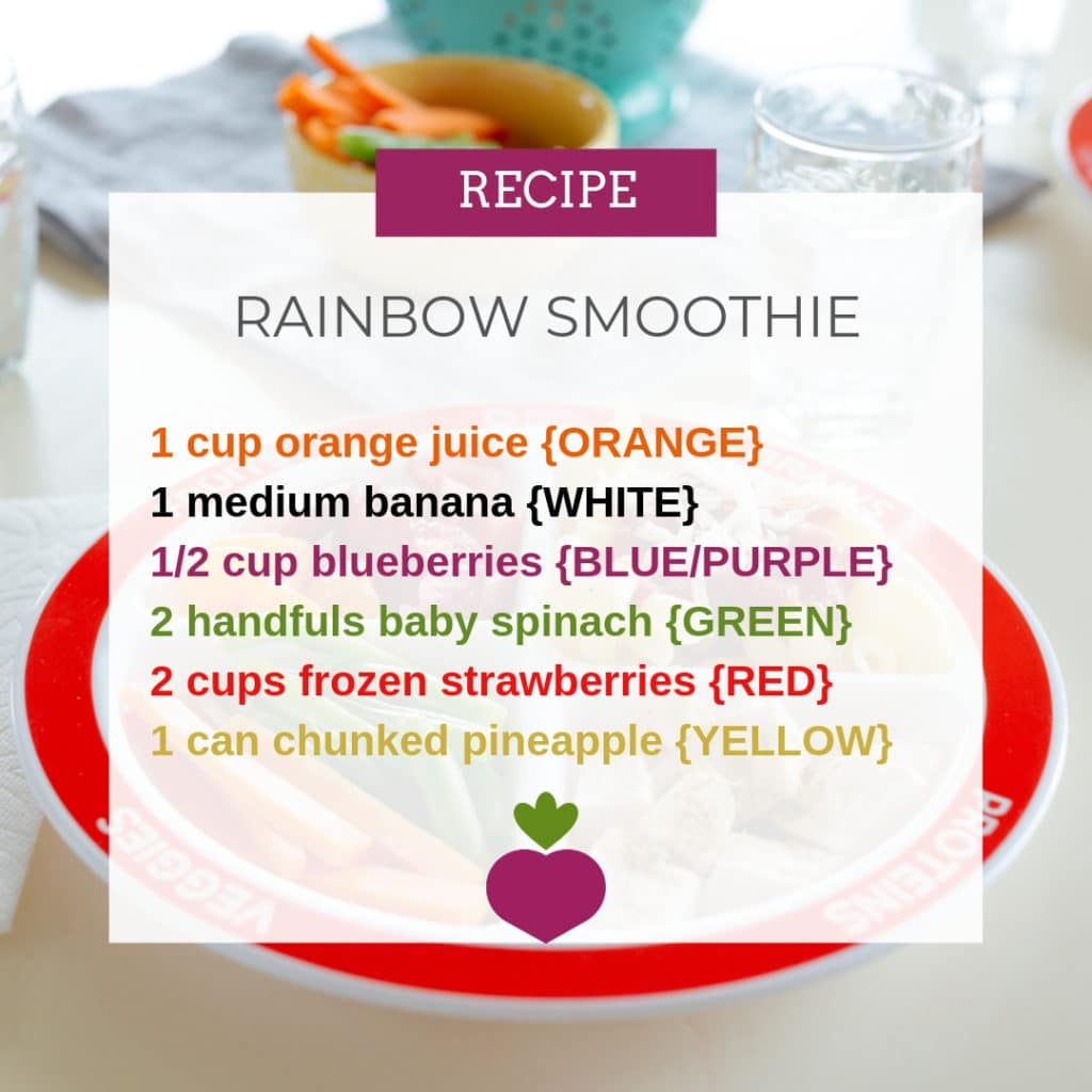 rainbow smoothie recipe for classroom nutrition lesson idea