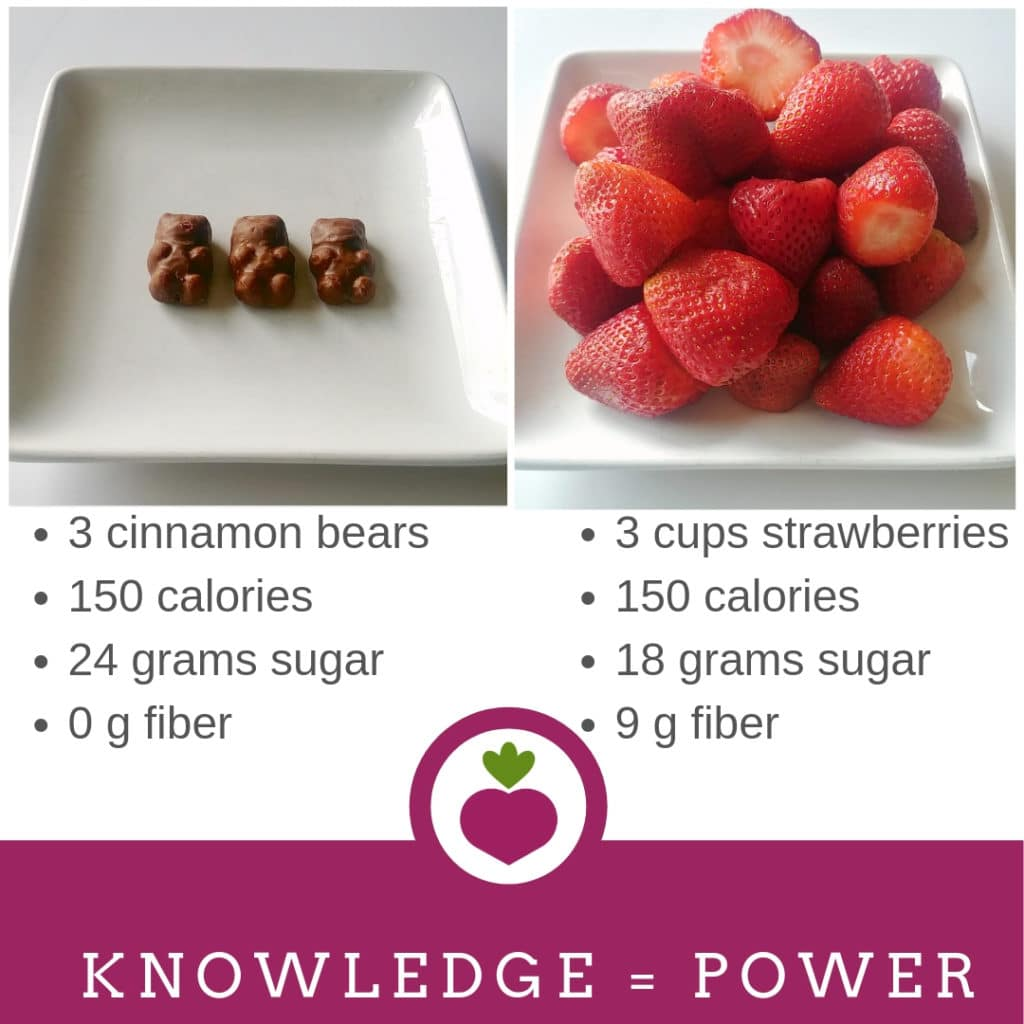 calorie comparisons strawberries and chocolate covered cinnamon bears.