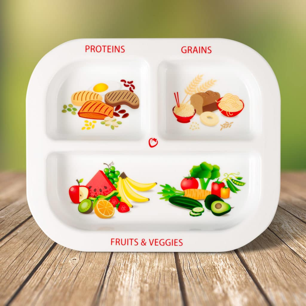 Portion control plate for kids with 3 parts.