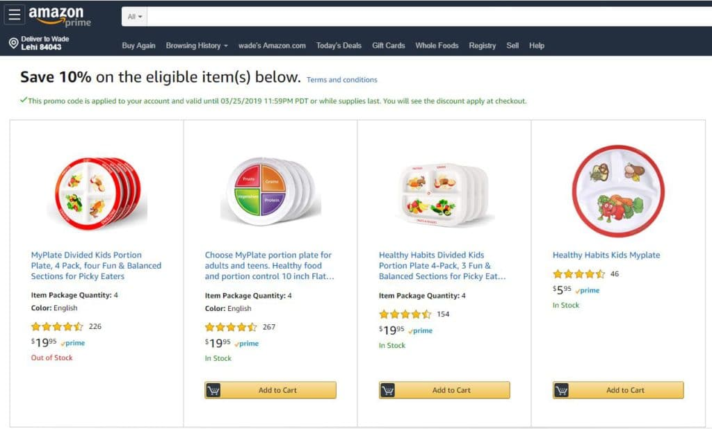 Portion control plates at Amazon