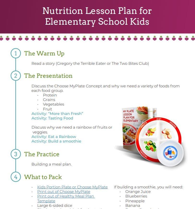 nutrition lesson plan pdf