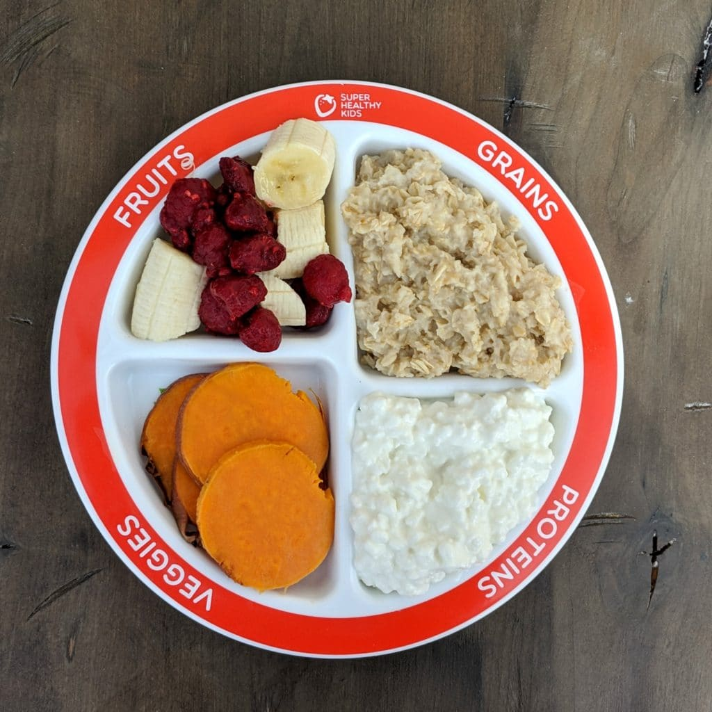 breakfast on portion control plate