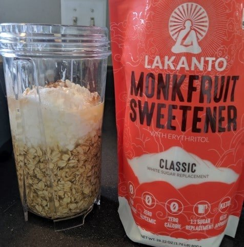 using monk fruit sweetener by lakanto in this recipe for low calorie pancakes