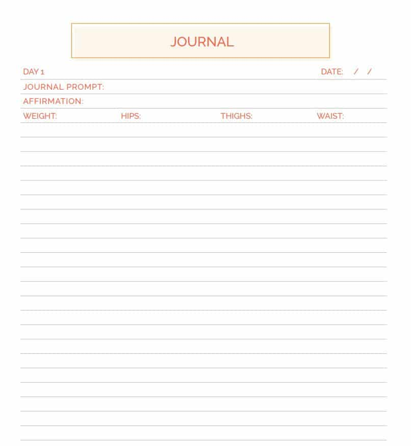 food journal template for weight loss