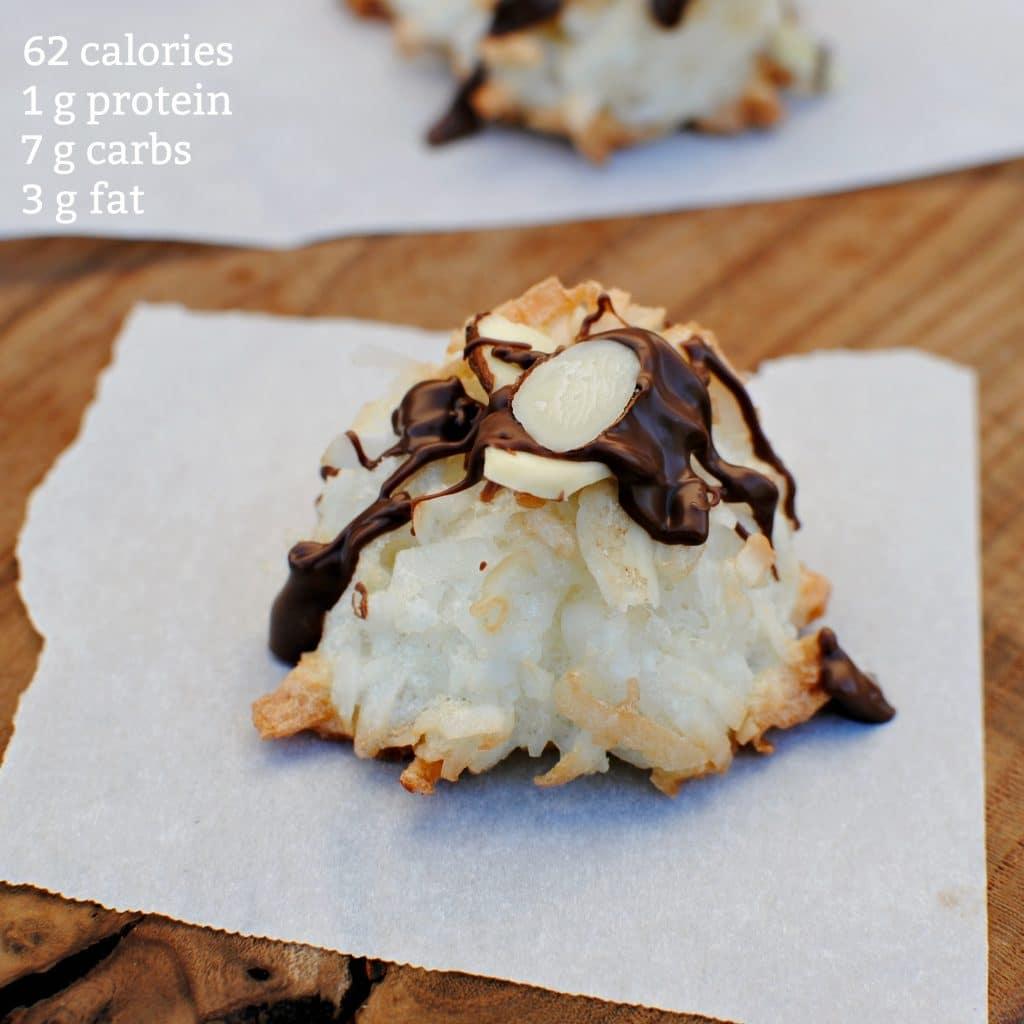 macros for healthy coconut macaroon recipe. Low calorie diet. 62 calories