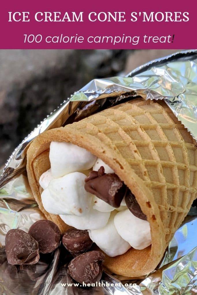 100 calorie smores in an ice cream cone
