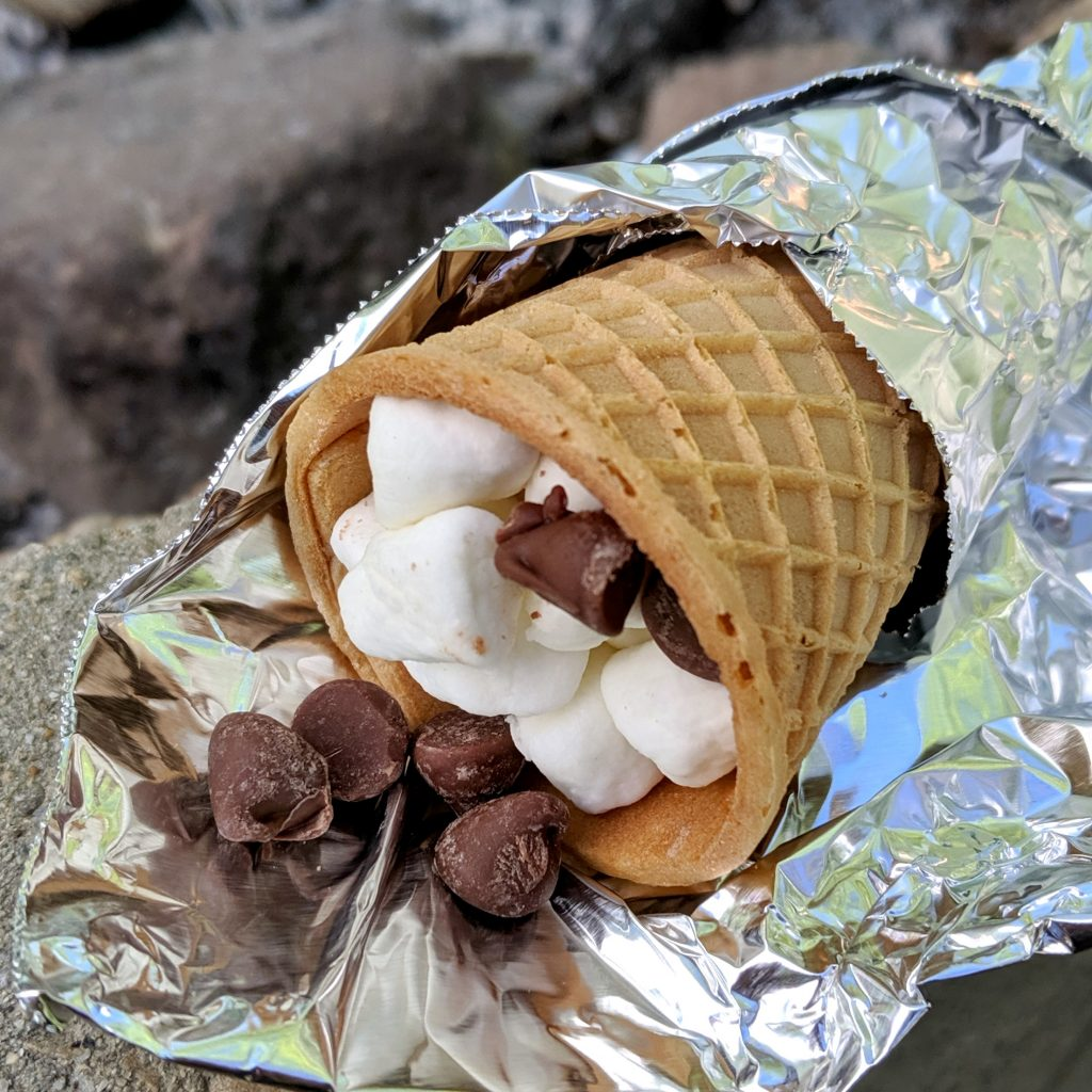 smore's in an ice cream cone
