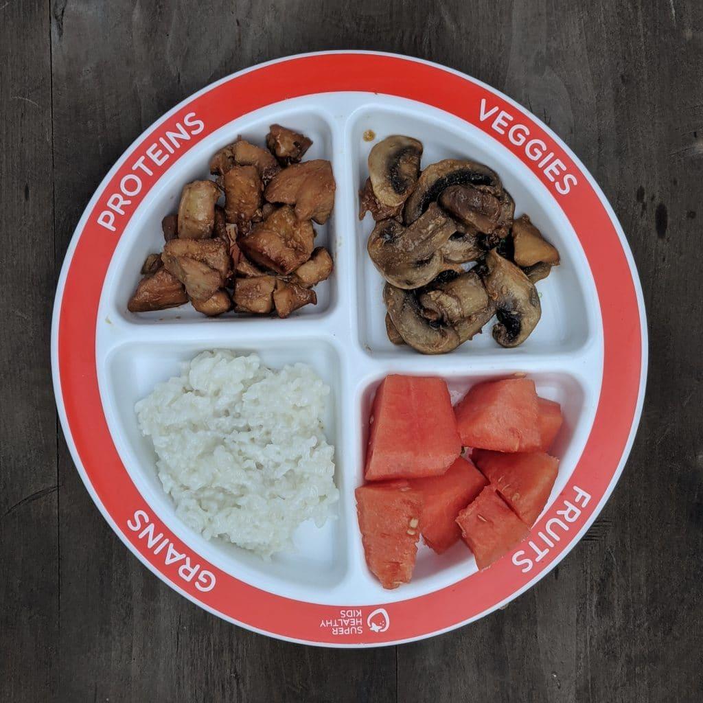 Stir fry teriyaki chicken on a portion control plate