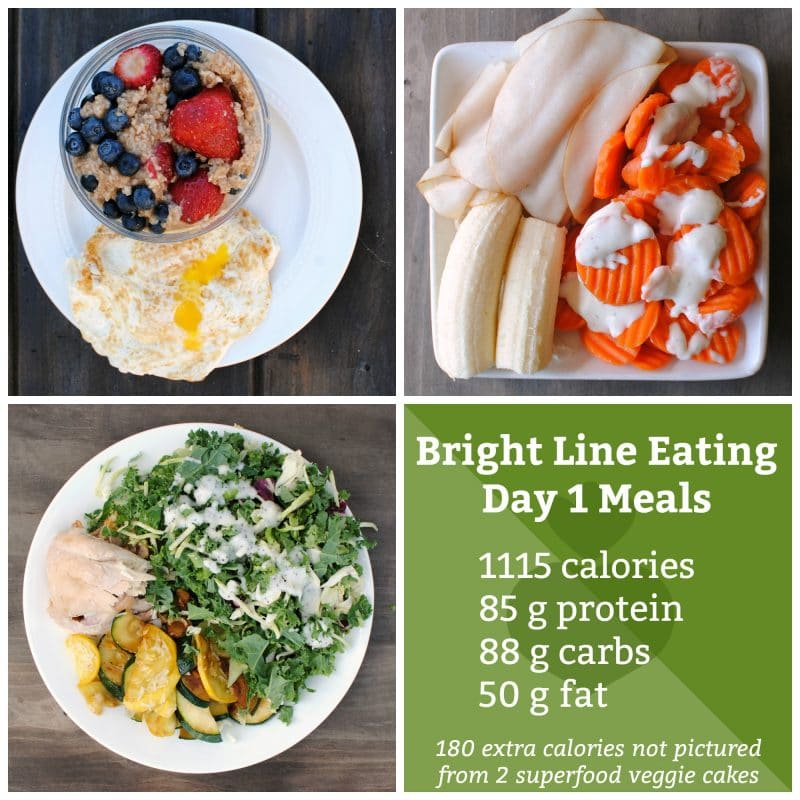 Day 1 Bright Line Eating Meals