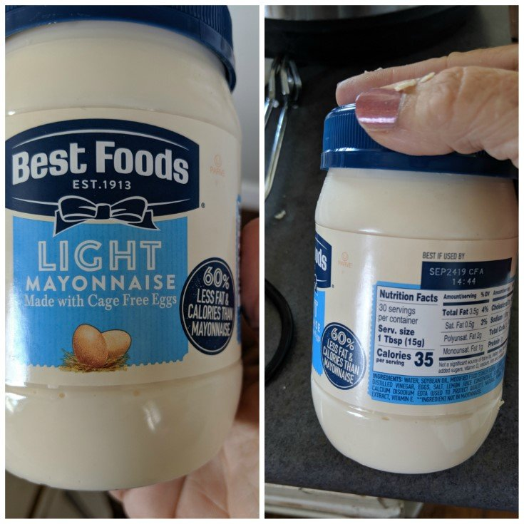 Light Best foods mayo made with Cage free eggs.  60% less fat and calories