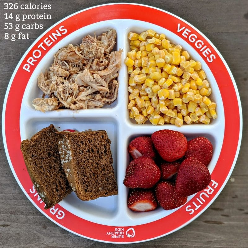 choose myplate for kids portion control plate meal idea