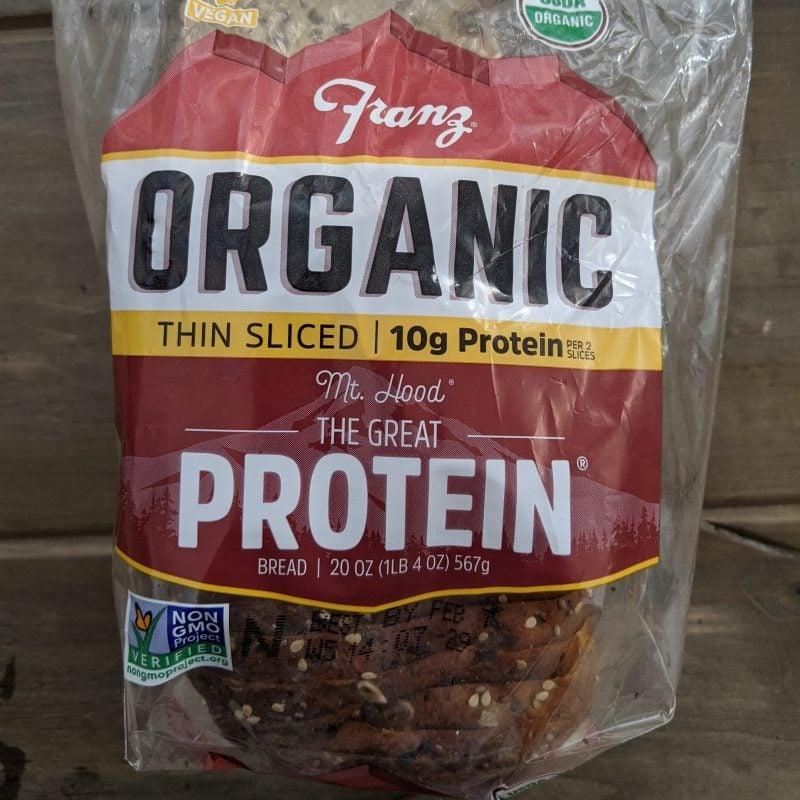 Franz organic protein bread nutrition label