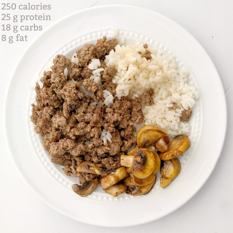 protein and carb dinner idea rice ground beef and mushrooms