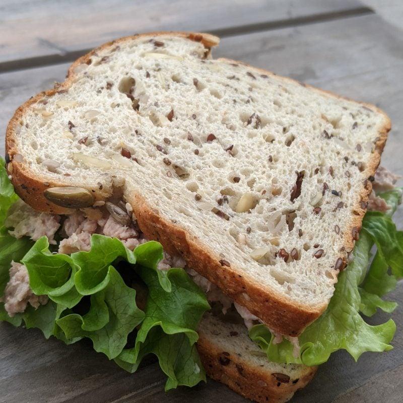 Tuna sandwich on protein bread