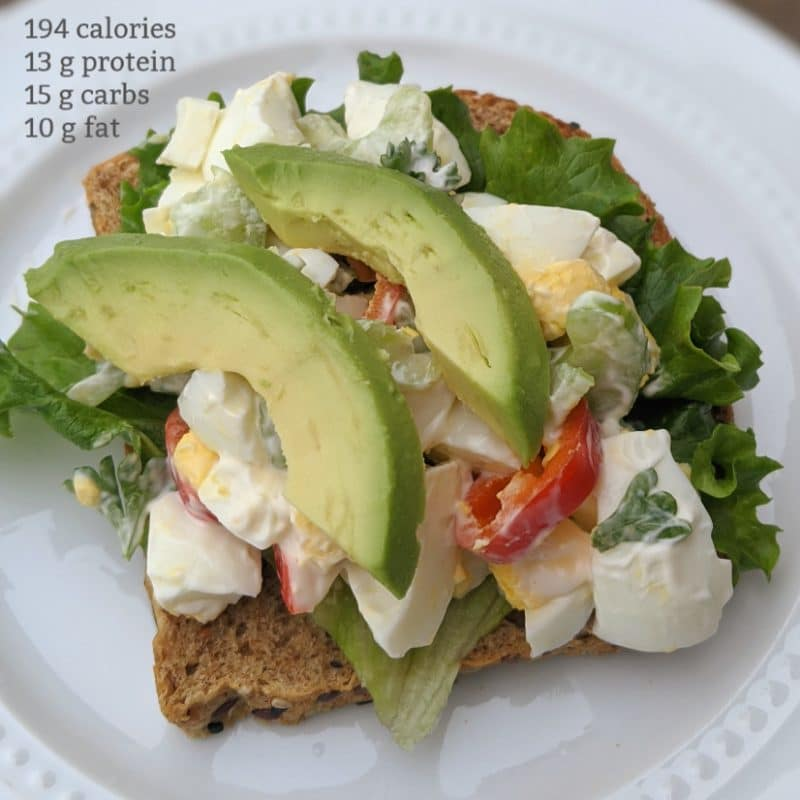 Healthy egg salad sandwich, low carb, high protein, and low calorie