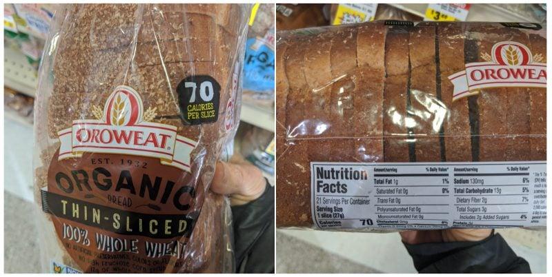 Oroweat bread label