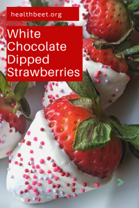 White chocolate dipped strawberries with sprinkles