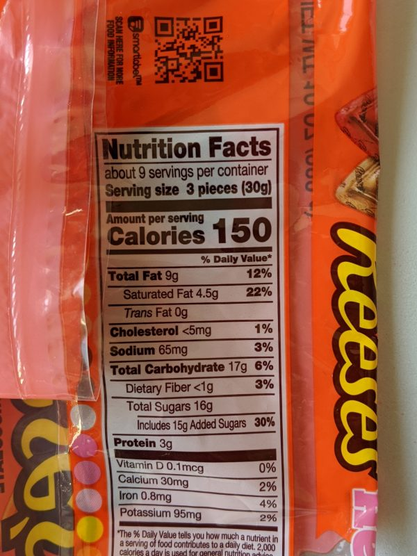 package of Reeses valentines hearts nutrition label