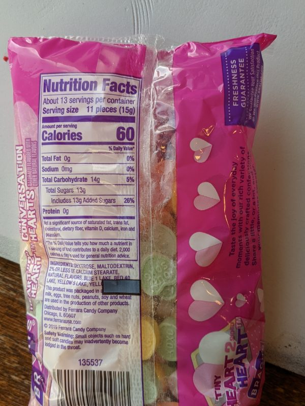 package of conversation heart valentines nutrition label