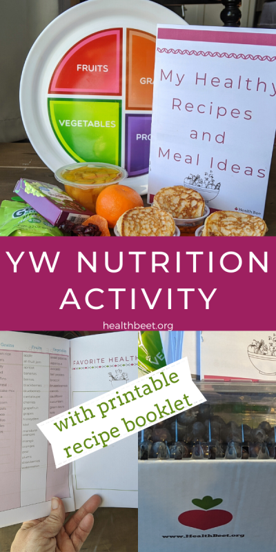 YW Nutrition lesson activity idea with printable recipe booklet