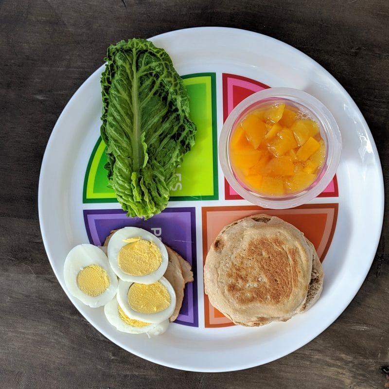Portion plate choose my plate with food groups. Egg for protein, peaches for fruit, lettuce for vegetable, and english muffin for grains.