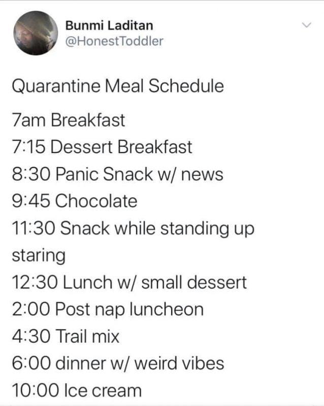 Quarantine meal schedule