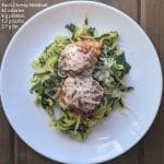 healthy meatballs on zoodles with calorie info