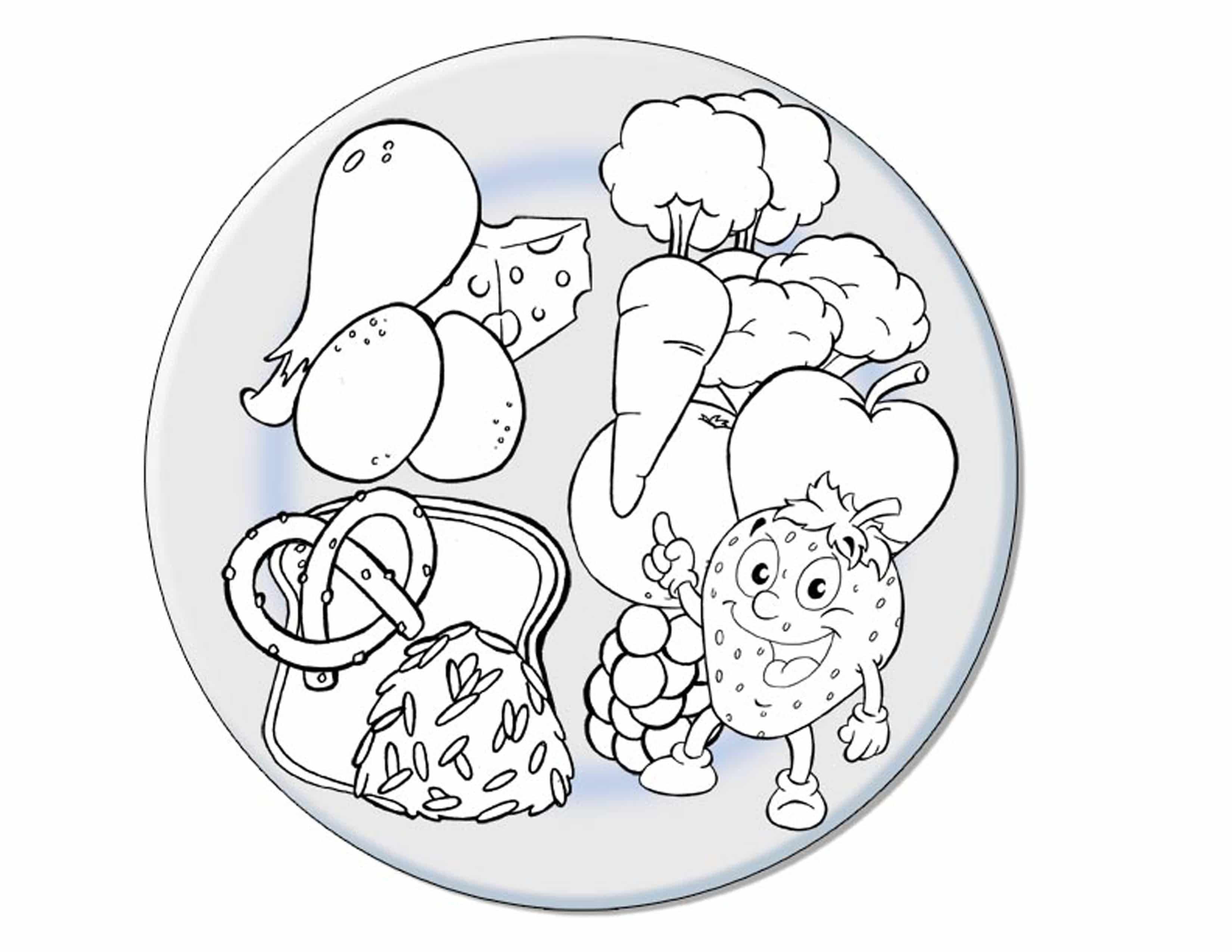coloring page nutrition plate