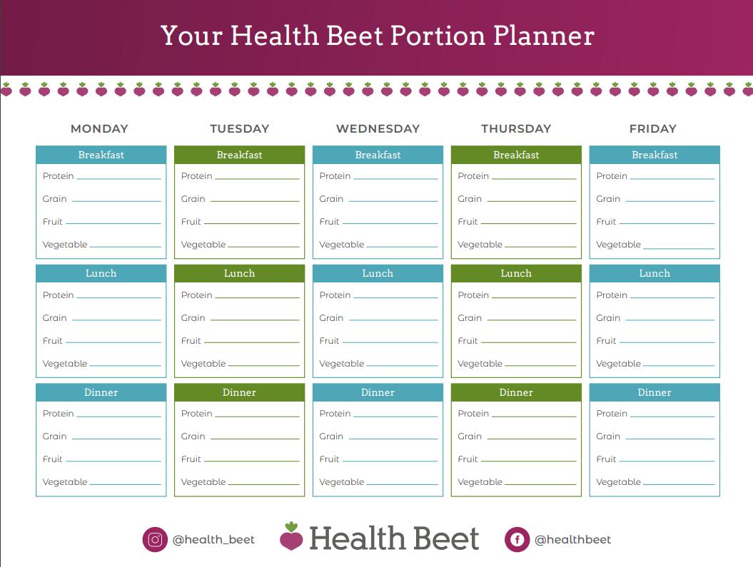 health beet portion planner printable worksheet