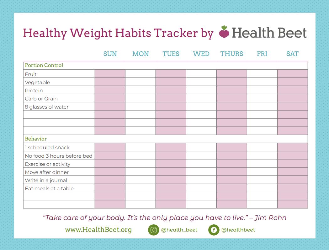 Healthy Weight Habit Tracker printable worksheet
