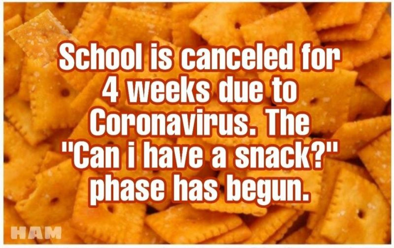 school is cancelled kids has can i have a snack