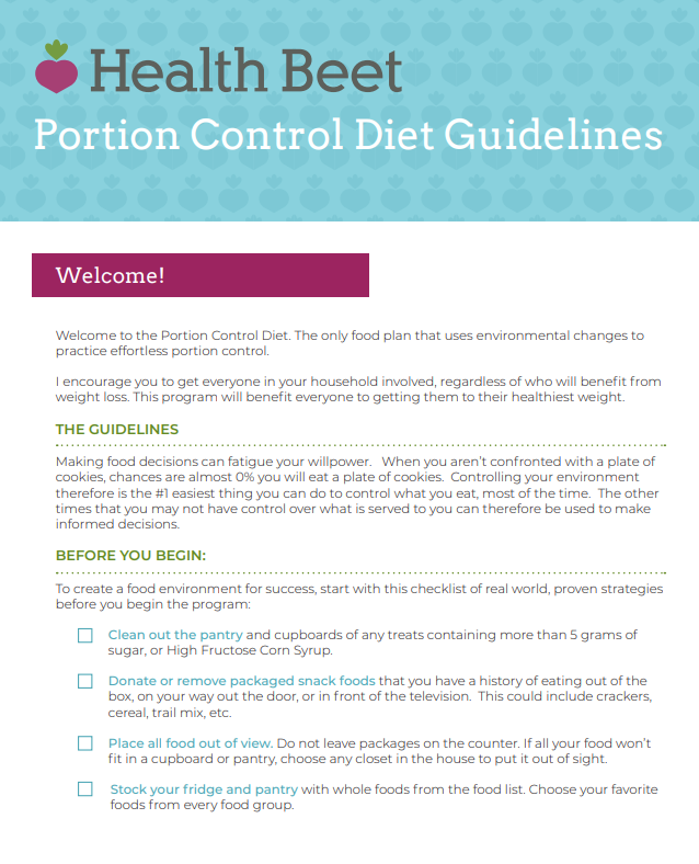 portion control diet guidelines