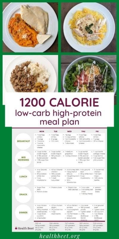 1200 calorie low carb meal plan