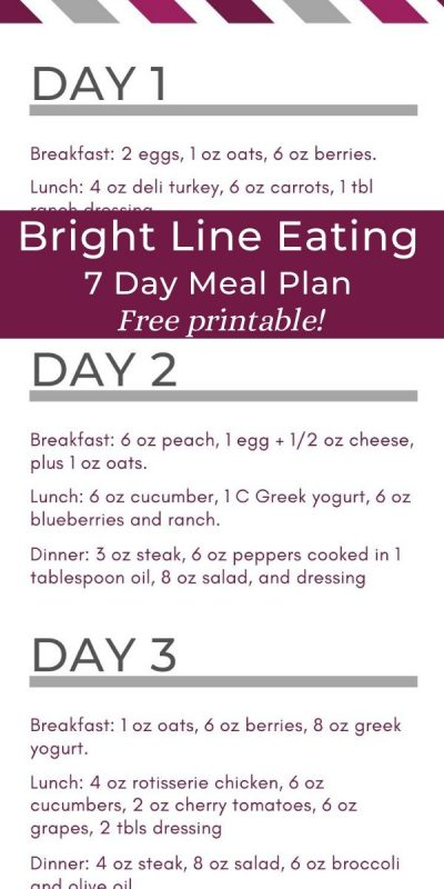 Bright line eating 7 day sample meal plan