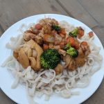 Delicious low calorie lo mein with chicken
