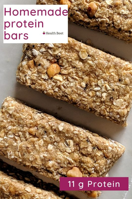 Homemade protein bars with oats, protein powder, milk, and peanut butter
