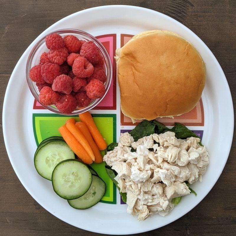 chicken salad bun raspberries and cucumbers on myplate