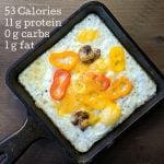 egg white frittata with nutrition info on top