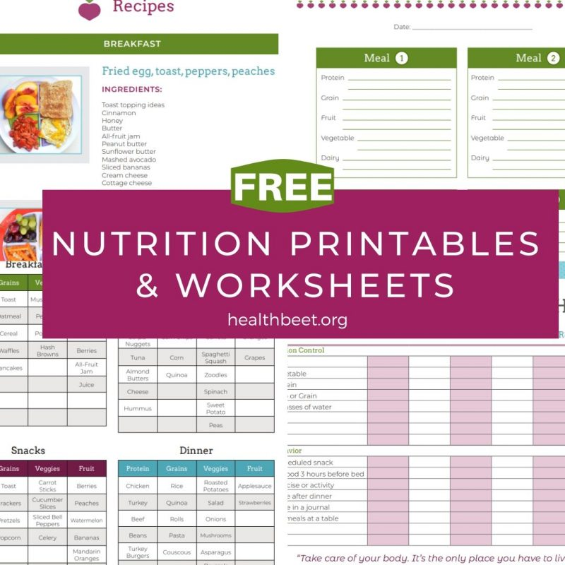 free printables and worksheets for nutrition