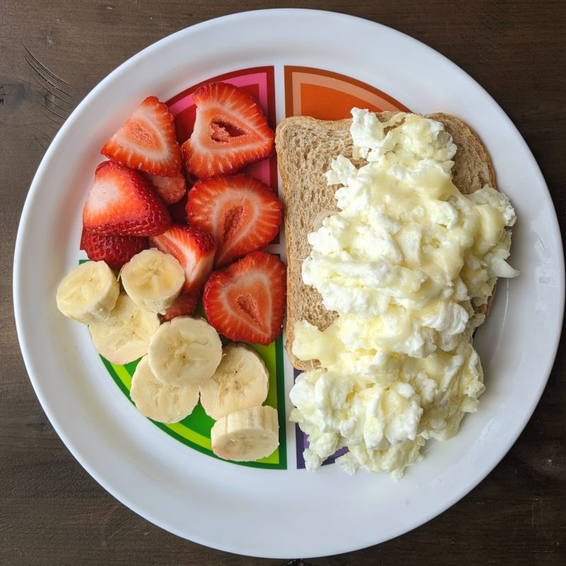 strawberries bananas eggs and toast on myplate