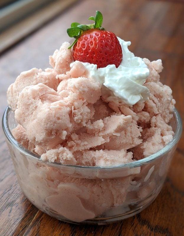 strawberry topped protein powder ice cream