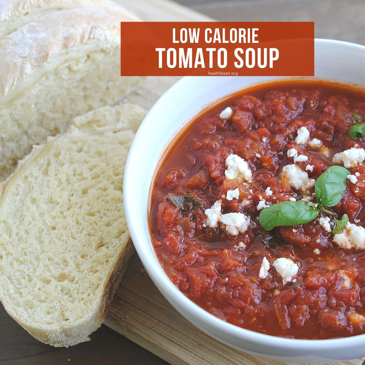 Low calorie chunky tomato soup with basil