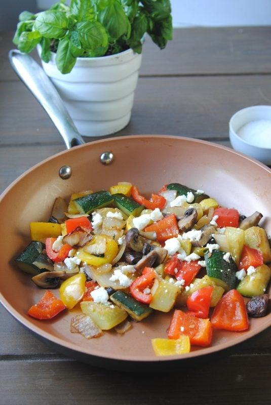 healthy veggies in a skillet