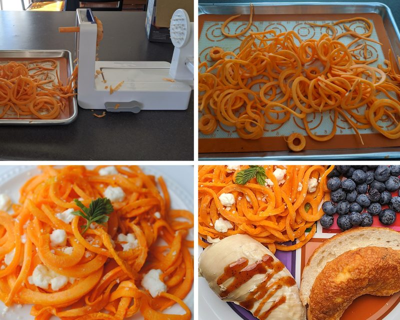making spiralized sweet potato noodles