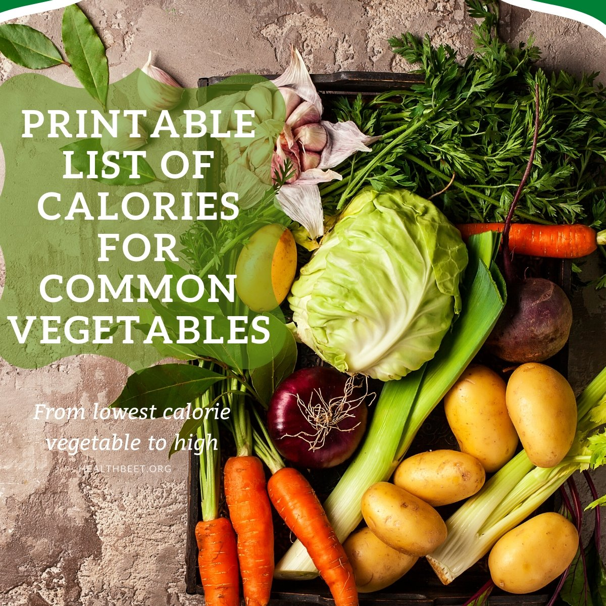 printable list of common veggies and their calories