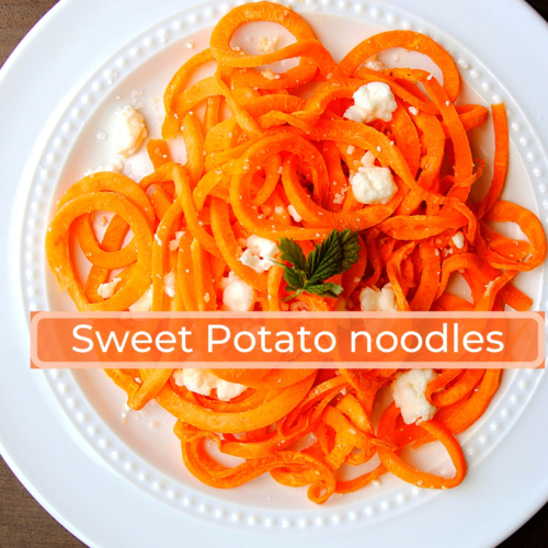 sweet potato noodle recipe with feta and salt