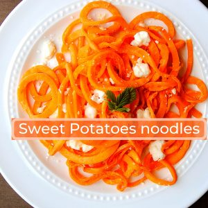 sweet potato noodle recipe with feta and salt