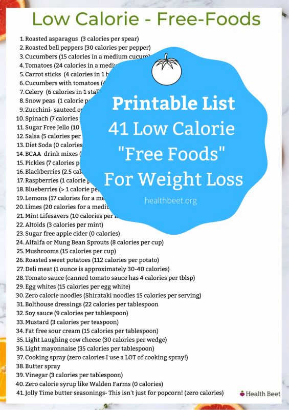 Printable list of 41 low calorie free foods for weight loss