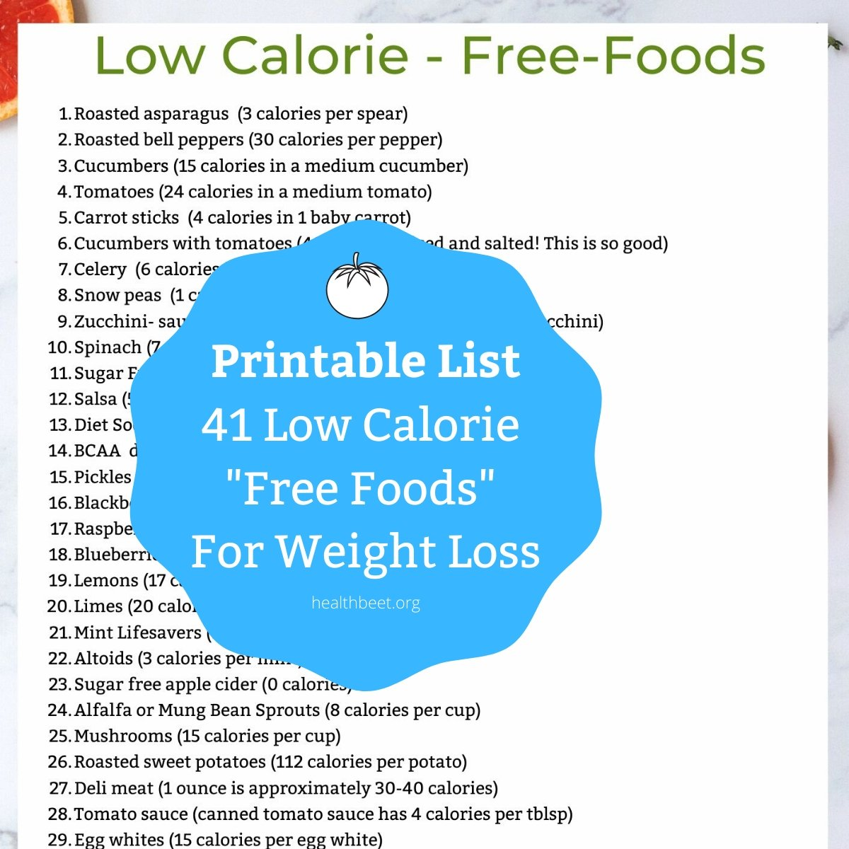 printable list of free foods for weight loss
