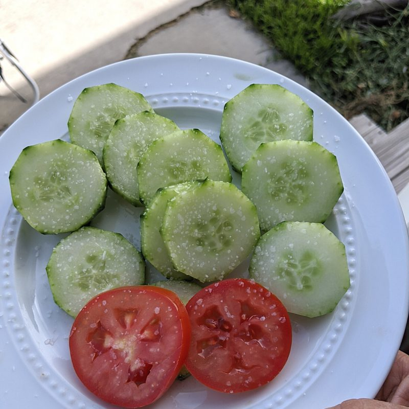 salt on tomatoes and cucumbers